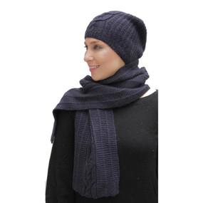 Superfine Hand Knitted Alpaca Wool Beanie Hat & Scarf Navy Blue