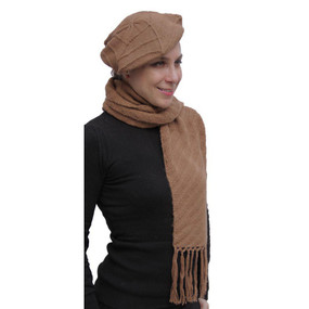 Superfine Hand Knitted Alpaca Wool Beret & Scarf Camel
