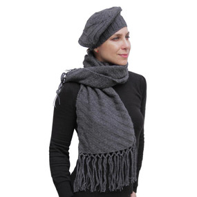 Superfine Hand Knitted Alpaca Wool Beret & Scarf Charcoal Gray