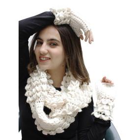 Superfine Alpaca Wool Handknitted Infinity Scarf & Gloves Ivory