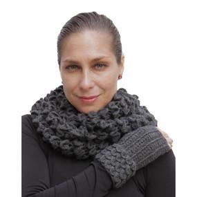 Superfine Alpaca Wool Handknitted Infinity Scarf & Gloves Charcoal