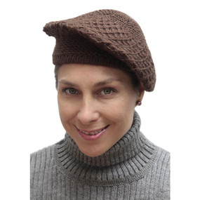 Alpaca Wool Knitted Beret Brown One SZ