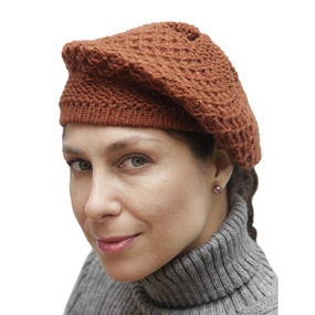 Alpaca Wool Knitted Beret Copper One SZ