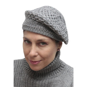 Alpaca Wool Knitted Beret Medium Gray One SZ