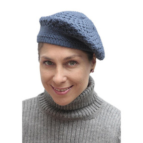 Alpaca Wool Knitted Beret Steel Blue One SZ