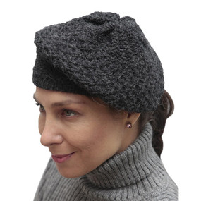 Alpaca Wool Knitted Beret Charcoal Gray One SZ