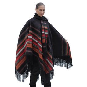 Ethnic Alpaca Wool Poncho Cloak with Scarf Black One SZ