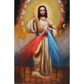 "Jesus Lord of Mercy Cuzco Oil Painting On Canvas  12""H  x 8""W"