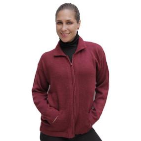Womens Alpaca Wool Jacket Wine Burgundy SZ S