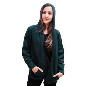 Hooded Alpaca Wool Jacket SZ XL Green