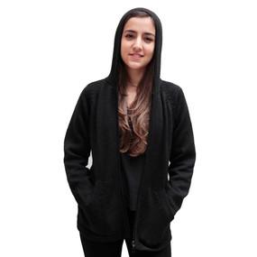 Hooded Alpaca Wool Jacket SZ XL Black