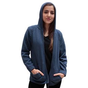 Hooded Alpaca Wool Jacket SZ S Steel Blue