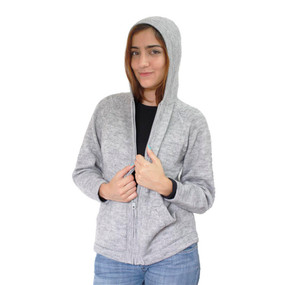 Hooded Alpaca Wool Jacket SZ S Silver Gray