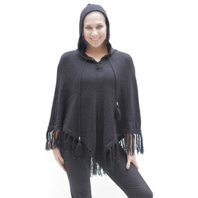 Womens Hooded Superfine Alpaca Wool Poncho Black One Sz