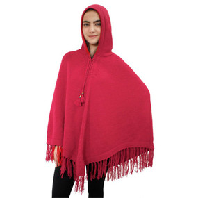 Hooded Alpaca Wool Womens Knit Long Poncho One Size Red