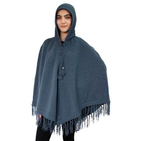 Hooded Alpaca Wool Womens Knit Long Poncho One Size Steel Blue
