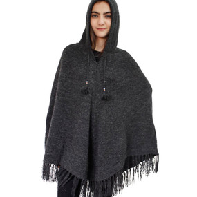 Hooded Alpaca Wool Womens Knit Long Poncho One Size Charcoal Gray