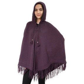 Hooded Alpaca Wool Womens Knit Long Poncho One Size Plum