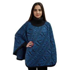 Alpaca Wool Turtleneck Knit Poncho One Size Black & Blue