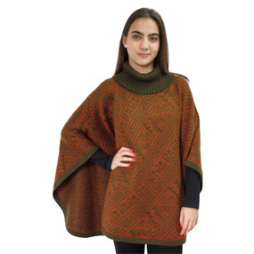 Alpaca Wool Turtleneck Knit Poncho One Size Copper & Leaf Green