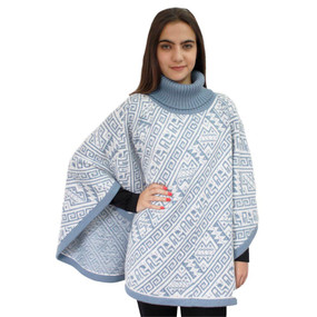 Alpaca Wool Turtleneck Knit Poncho One Size Soft Blue & Ivory