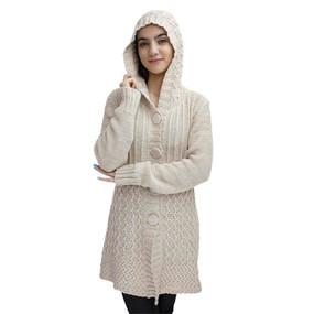 Womens Superfine Alpaca Wool Hooded Coat Size L Beige