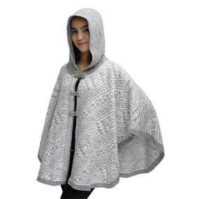 Hooded Alpaca Wool Womens Knit Cape One Size Silver Gray & Ivory
