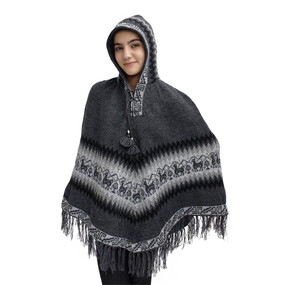 Hooded Little Llamas Alpaca Wool Womens Knit Long Poncho One Size Gray