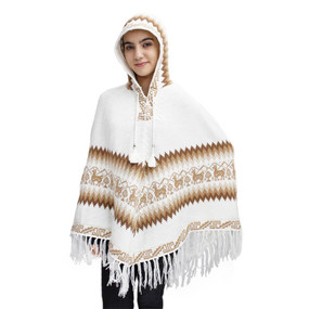 Hooded Little Llamas Alpaca Wool Womens Knit Long Poncho One Size Ivory