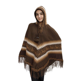 Hooded Little Llamas Alpaca Wool Womens Knit Long Poncho One Size Brown