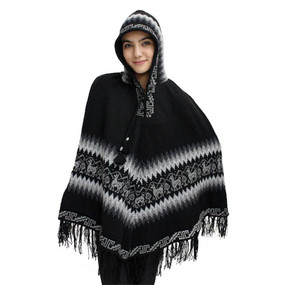 Hooded Little Llamas Alpaca Wool Womens Knit Long Poncho One Size Black