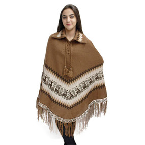 Little Llamas Alpaca Wool Knit Long Poncho With Collar One Size Camel