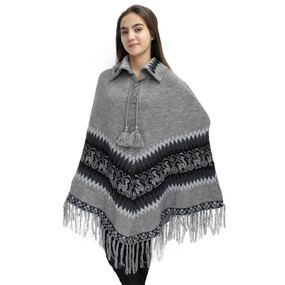 Little Llamas Alpaca Wool Knit Long Poncho With Collar One Size Soft Gray
