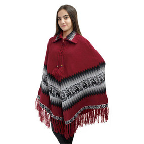 Little Llamas Alpaca Wool Knit Long Poncho With Collar One Size Red