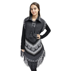 Little Llamas Alpaca Wool Knit Long Poncho With Collar & Sleeves One Size Gray
