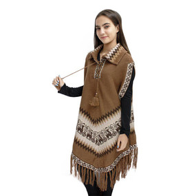 Little Llamas Alpaca Wool Knit Long Poncho With Collar & Sleeves One Size Camel