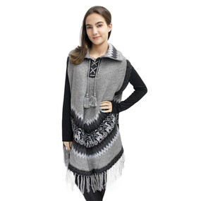 Little Llamas Alpaca Wool Knit Long Poncho With Collar & Sleeves One Size Soft Gray