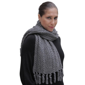 Chunky Superfine Handknitted Alpaca Scarf Gray