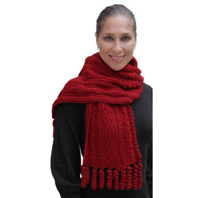Chunky Superfine Handknitted Alpaca Scarf Red