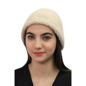 Superfine Hand Knitted Alpaca Wool Hat Beige