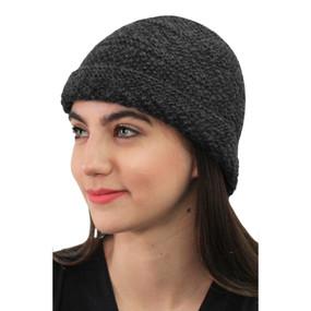 Superfine Hand Knitted Alpaca Wool Hat Gray