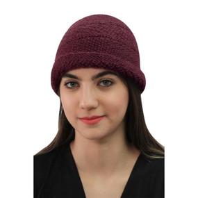 Superfine Hand Knitted Alpaca Wool Hat Burgundy