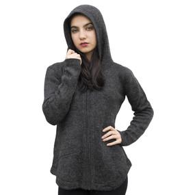 Womens Hooded Alpaca Wool Shaped Jacket SZ S Charcoal Gray