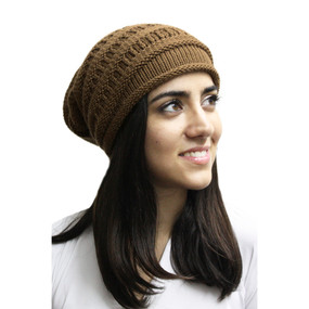 Superfine Alpaca Wool Knitted Long Beanie Hat Camel