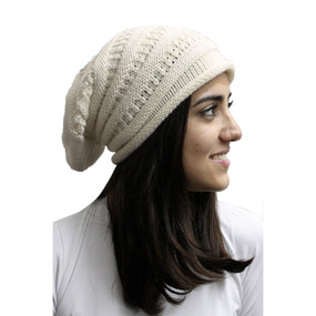 Superfine Alpaca Wool Knitted Long Beanie Hat Ivory