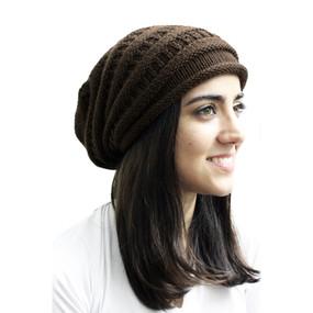 Superfine Alpaca Wool Knitted Long Beanie Hat Brown