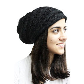 Superfine Alpaca Wool Knitted Long Beanie Hat Black