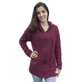 Womens Superfine Alpaca Wool Hand Knitted Hooded Cable Jacket Size L Burgundy