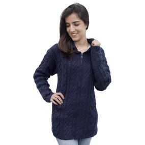 Womens Superfine Alpaca Wool Hand Knitted Hooded Cable Jacket Size L Navy Blue