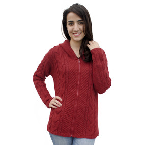 Womens Superfine Alpaca Wool Hand Knitted Hooded Cable Jacket Size M Red